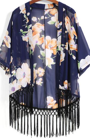 Sheinside Floral Loose Tassel Kimono