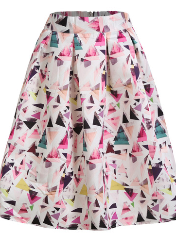 Sheinside Multicolor Geometric Print Flare Midi Skirt