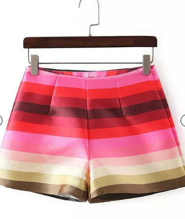 Sheinside red fashion striped loose shorts